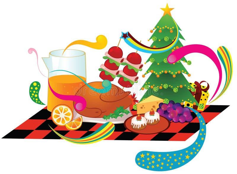 Dîner de Noël illustration de vecteur