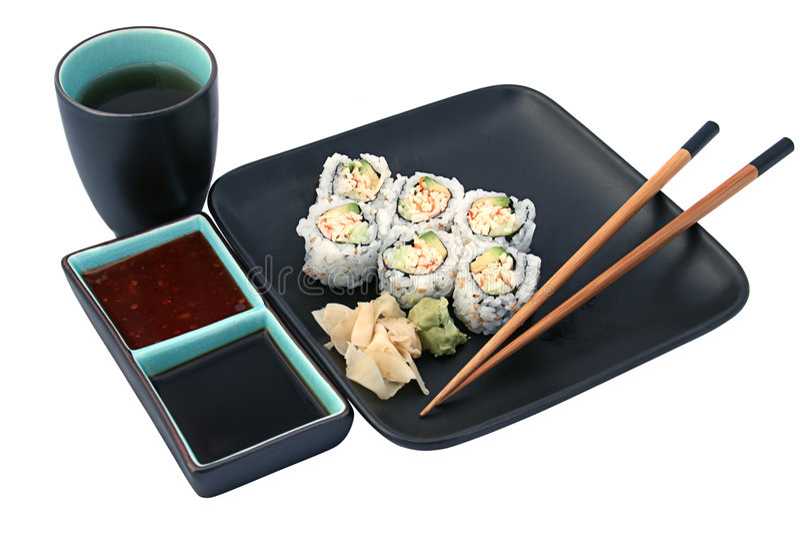 Dîner de sushi d'isolement image libre de droits