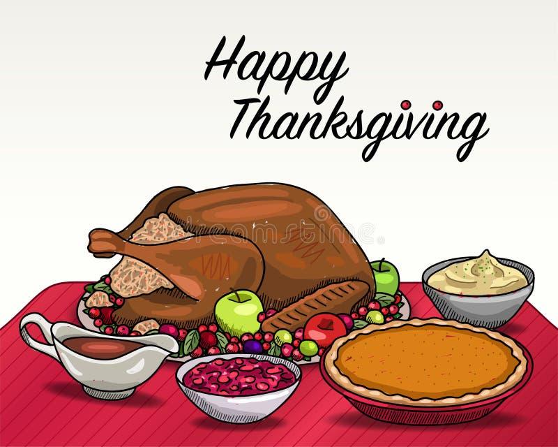 Dîner de thanksgiving illustration de vecteur