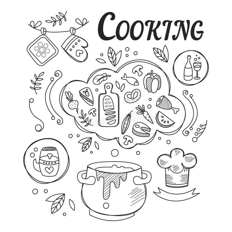 Dîner faisant cuire l'ensemble d'ingrédients et d'outils pour l'illustration noire et blanche tirée par la main de préparation al illustration stock
