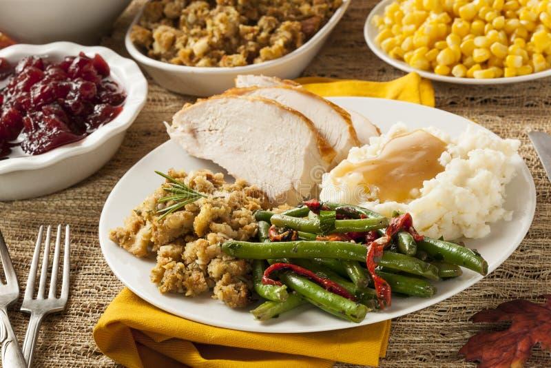 Dîner fait maison de thanksgiving de la Turquie image libre de droits