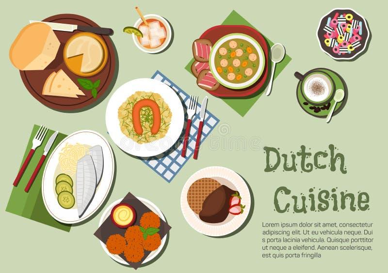 Dîner nutritif d'icône néerlandaise indigène de cuisine illustration de vecteur