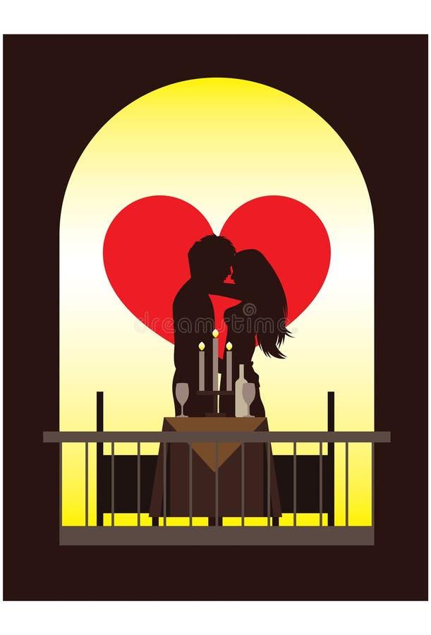 Dîner romantique illustration de vecteur