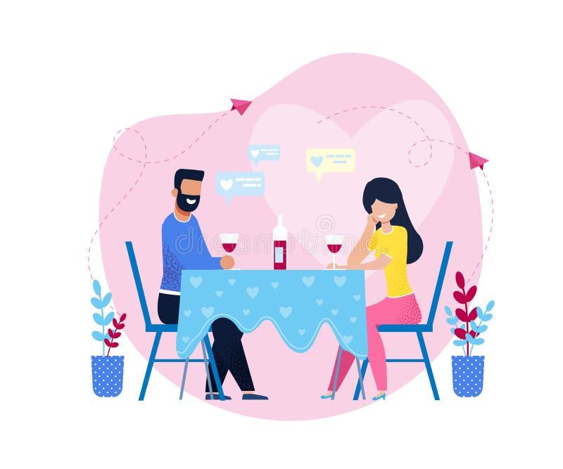 Dîner romantique avec du vin dans le restaurant ou à la maison illustration de vecteur
