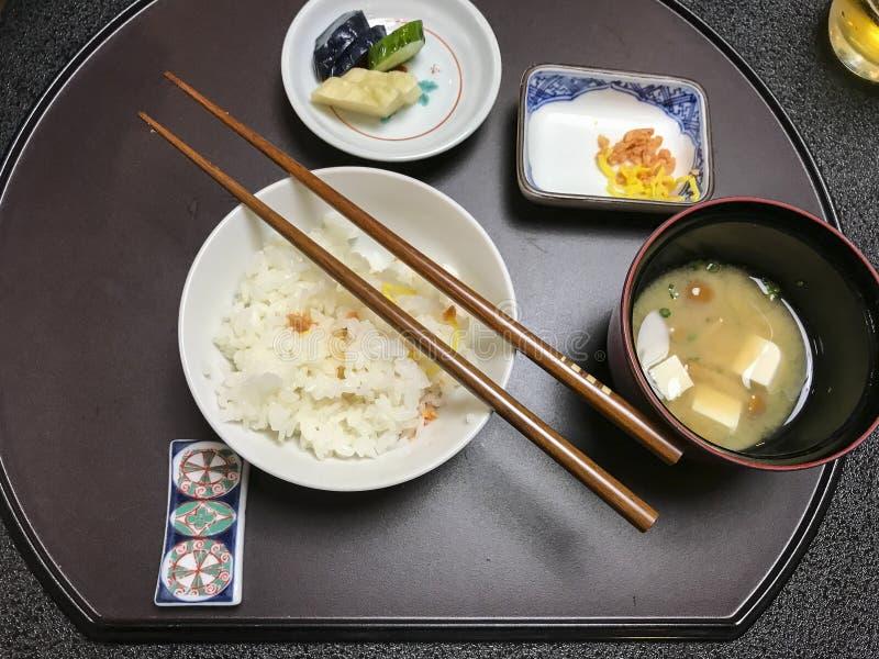 Dîner ryokan Japon de riz de tofu de soupe miso images libres de droits
