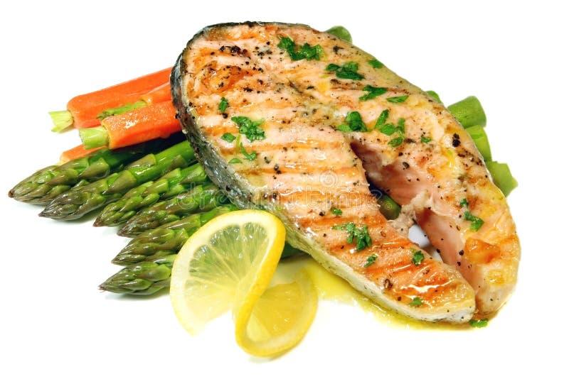 Dîner saumoné images stock