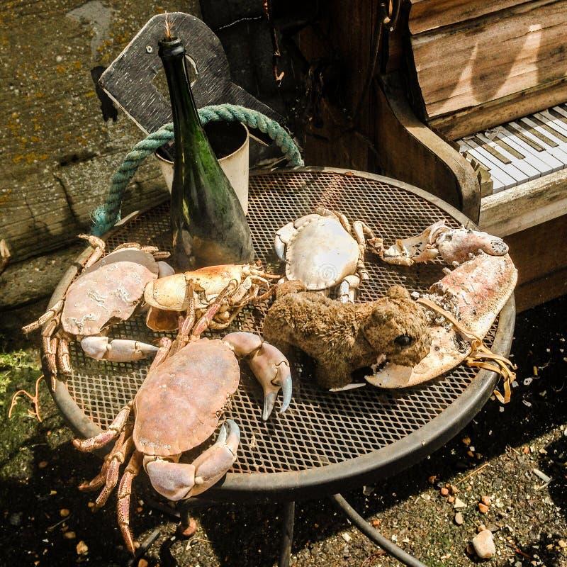 Dîner vieux Hastings - matière à réflexion de fruits de mer ! images libres de droits