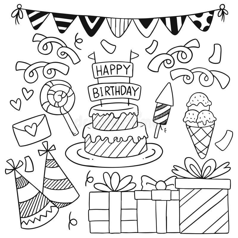 07-09-005 dó festeiro feliz aniversário Ornaments padrão de fundo Vetor ilustração ilustração royalty free