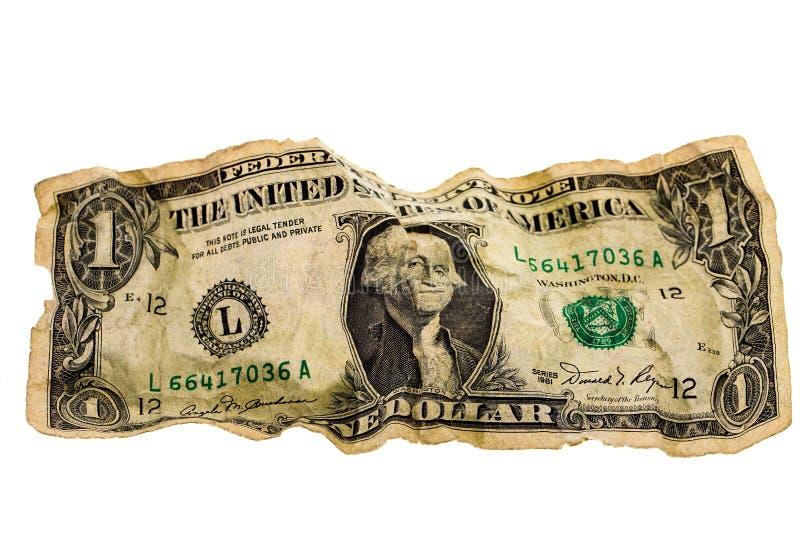Dólar amarrotado fotografia de stock royalty free