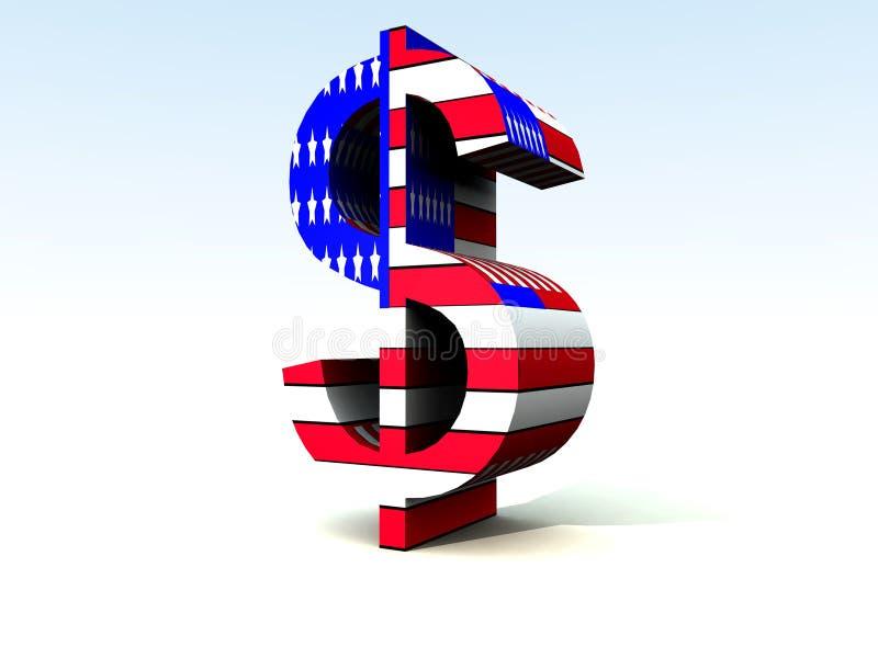 Dólar americano 1 ilustração royalty free
