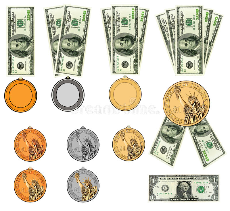 Dólar americano como medallas, concesiones de la cinta. Aislado libre illustration