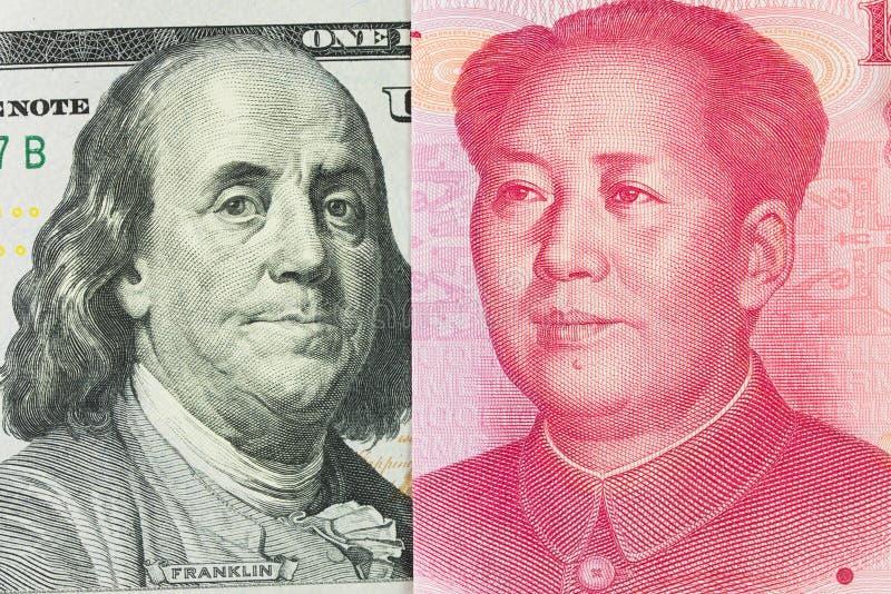 Dólar americano contra China Yuan fotografia de stock