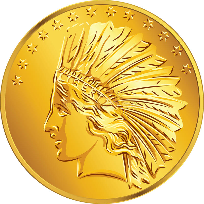 Dólar americano de la moneda de oro del dinero del vector libre illustration