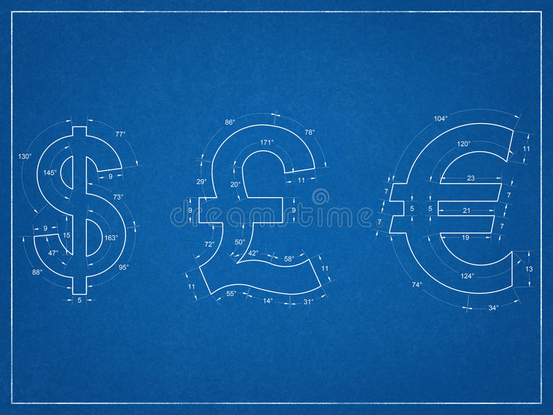 Dólar americano, libra britânica, modelo dos símbolos do Euro fotografia de stock royalty free