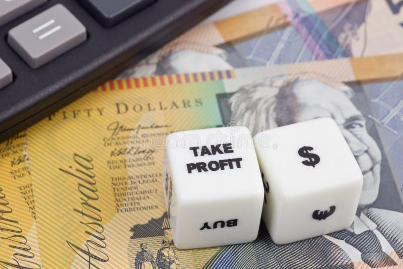 Dólar australiano do lucro da tomada imagem de stock