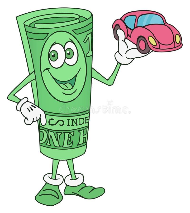 Dólar Bill Character Offering um carro foto de stock royalty free