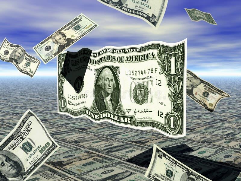 Dólar Bill do vôo ilustração do vetor