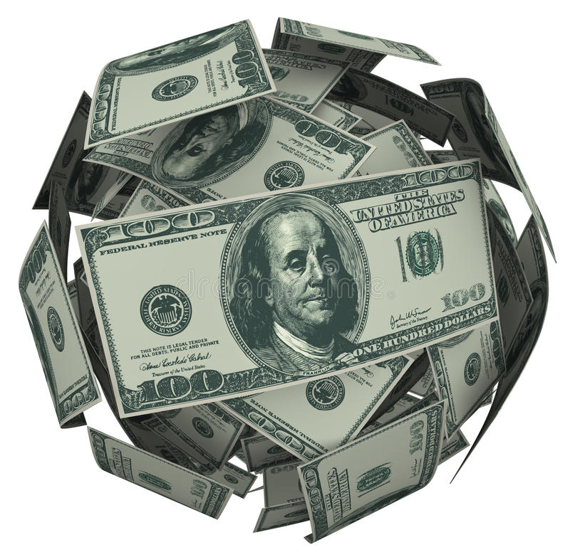 Dólar Bill Money Ball Cash Currency de Hunded stock de ilustración