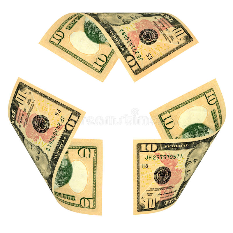 Dólar Bill Recycle Sign foto de stock royalty free