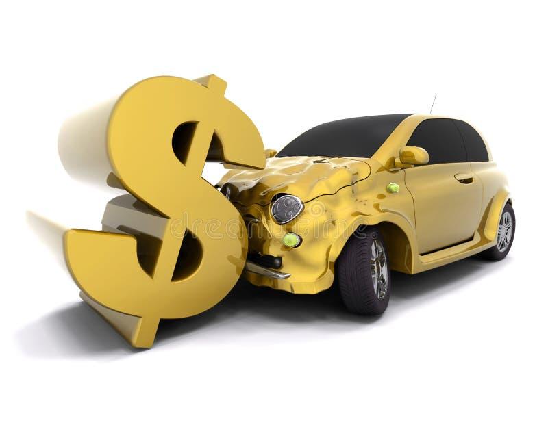 Dólar causando um crash ilustração stock