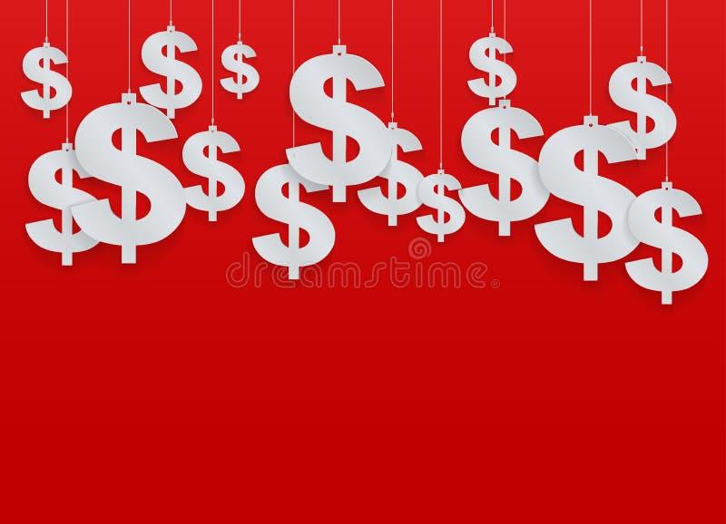 Dólar colgado de los símbolos. Ejemplo del vector. ilustración del vector