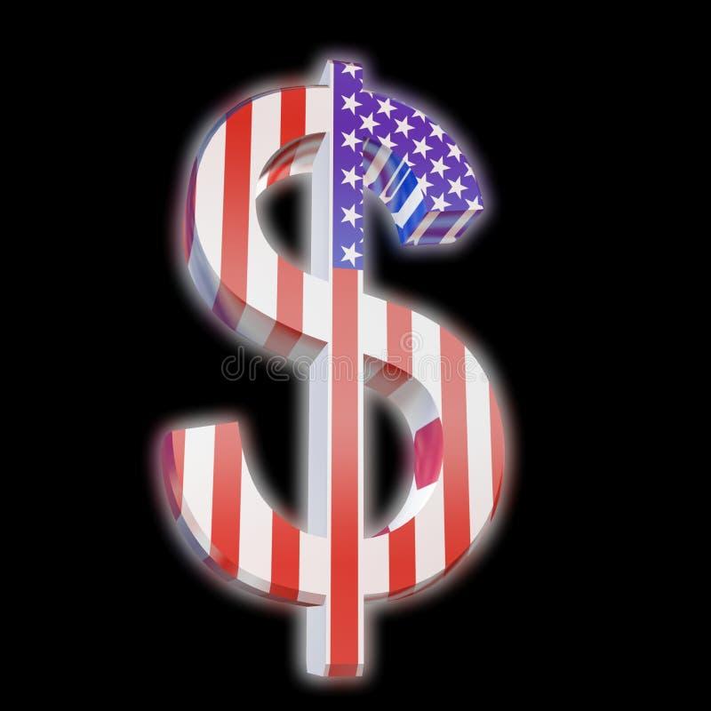 Dólar com bandeira dos E.U. ilustração stock