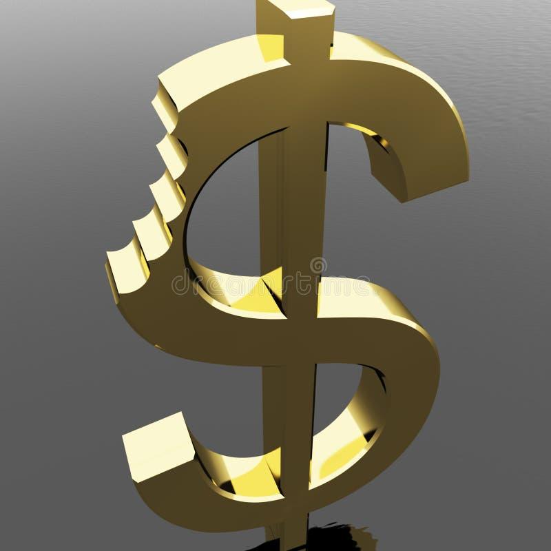Dólar com a mordida que mostra a desvalorização ilustração stock