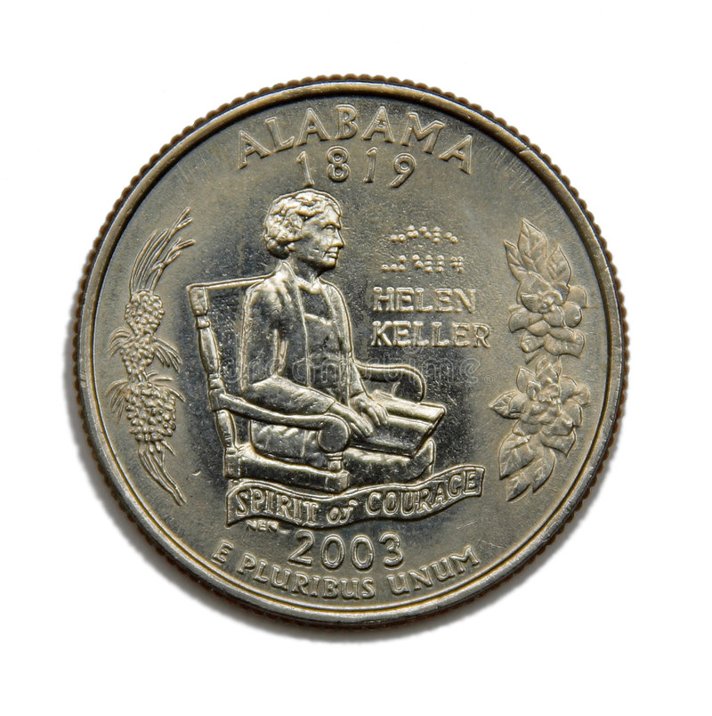 Dólar cuarto de los E.E.U.U. Alabama foto de archivo libre de regalías