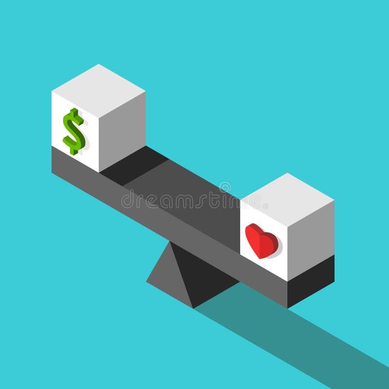 Dólar, cubos del corazón, balanza stock de ilustración