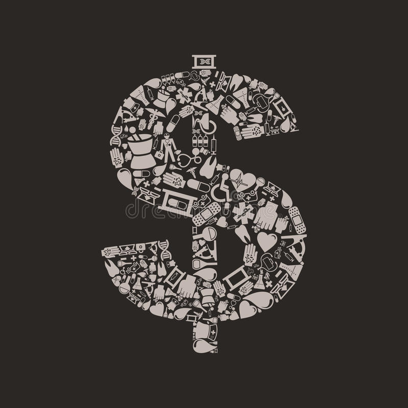 Dólar da medicina ilustração do vetor
