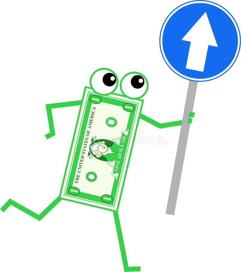 Dólar da seta ilustração royalty free