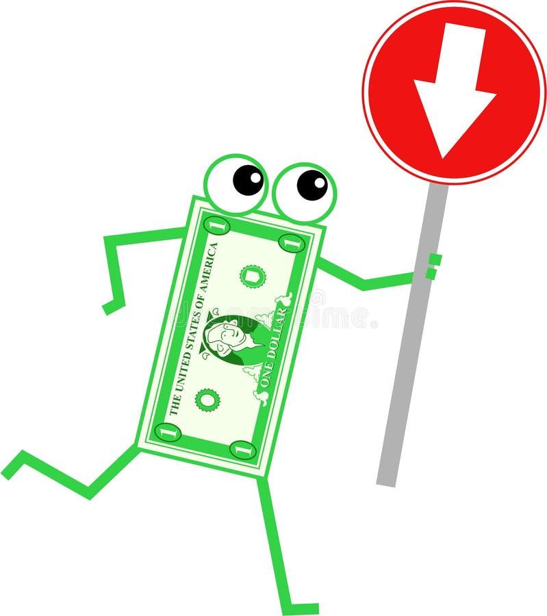 Dólar da seta ilustração stock