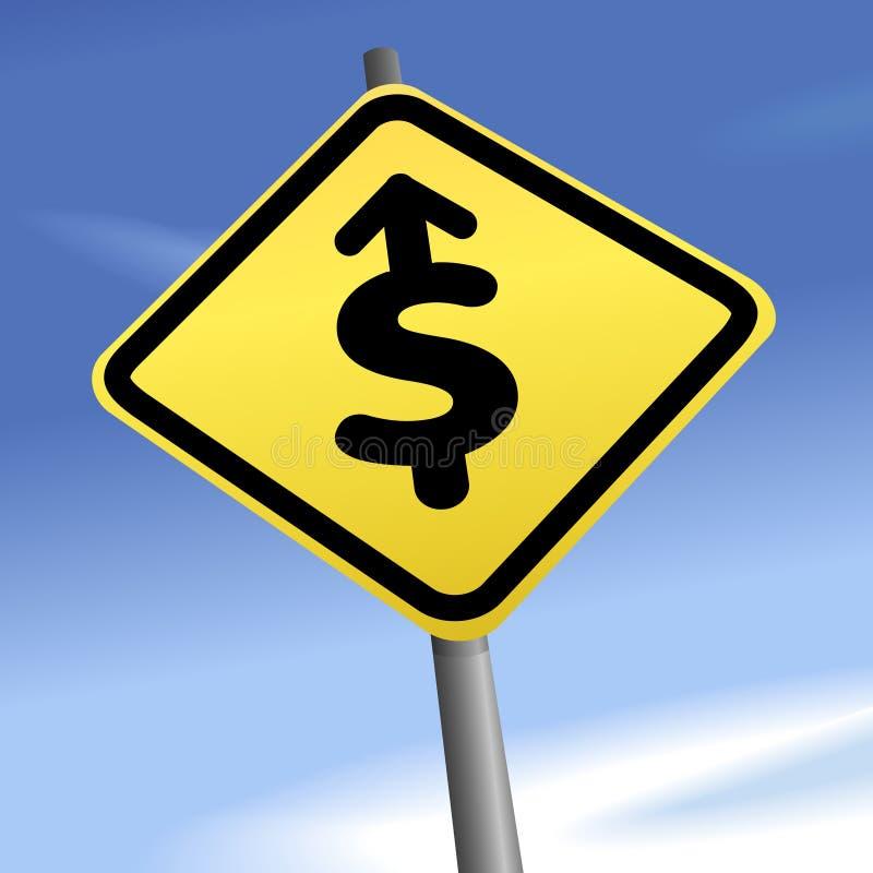 Dólar da seta ao sinal de sentido do tráfego do dinheiro ilustração royalty free