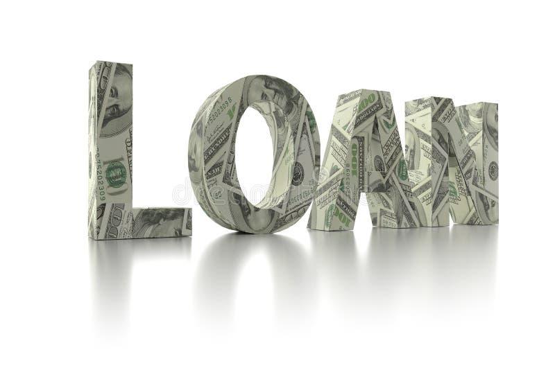 dólar de EE. UU. del PRÉSTAMO 3D envolver-alrededor de la palabra libre illustration