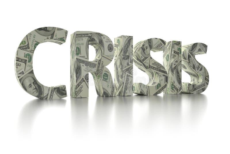 dólar de EE. UU. de la CRISIS 3D envolver-alrededor de la palabra stock de ilustración