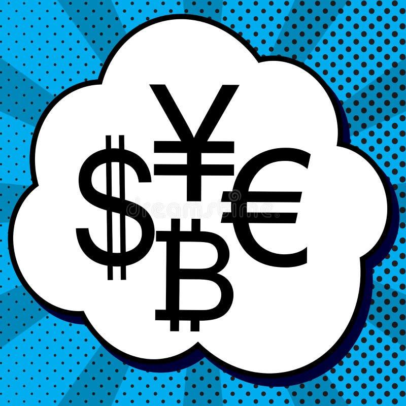 Dólar de la colección de la muestra de moneda, euro, bitcoin, yen Vector blA libre illustration