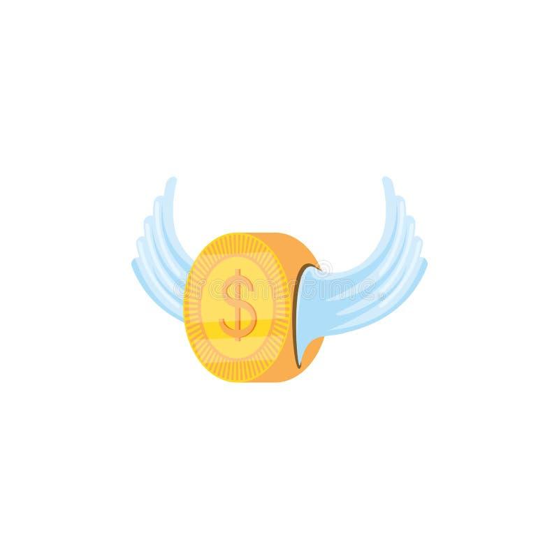 Dólar de la moneda con el icono aislado alas ilustración del vector