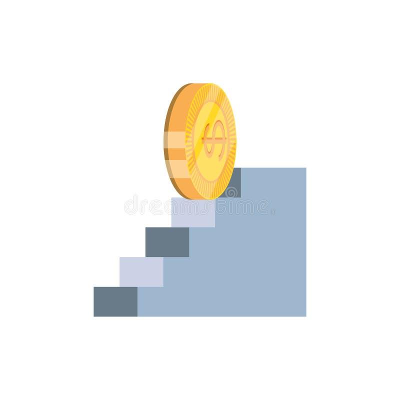 Dólar de la moneda en icono aislado escaleras ilustración del vector