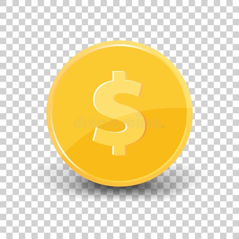 Dólar de la moneda de oro con la sombra Icono de la moneda en backgroun transparente libre illustration