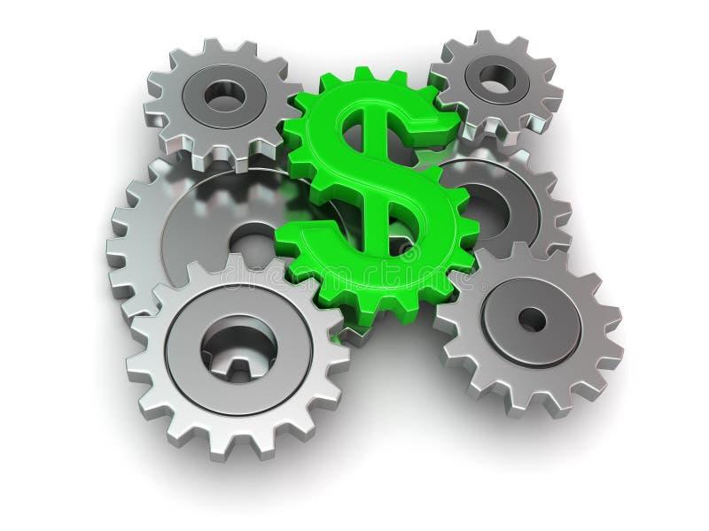 Dólar de la rueda dentada (trayectoria de recortes incluida) stock de ilustración