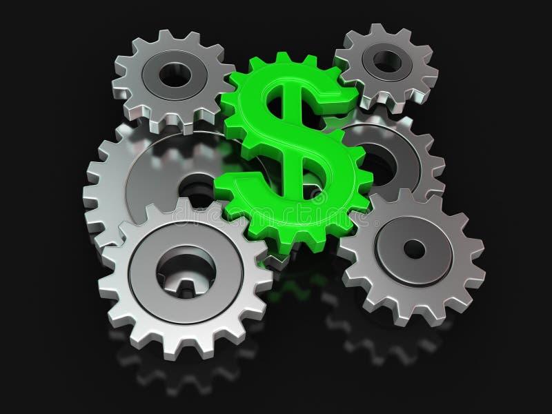 Dólar de la rueda dentada (trayectoria de recortes incluida) ilustración del vector