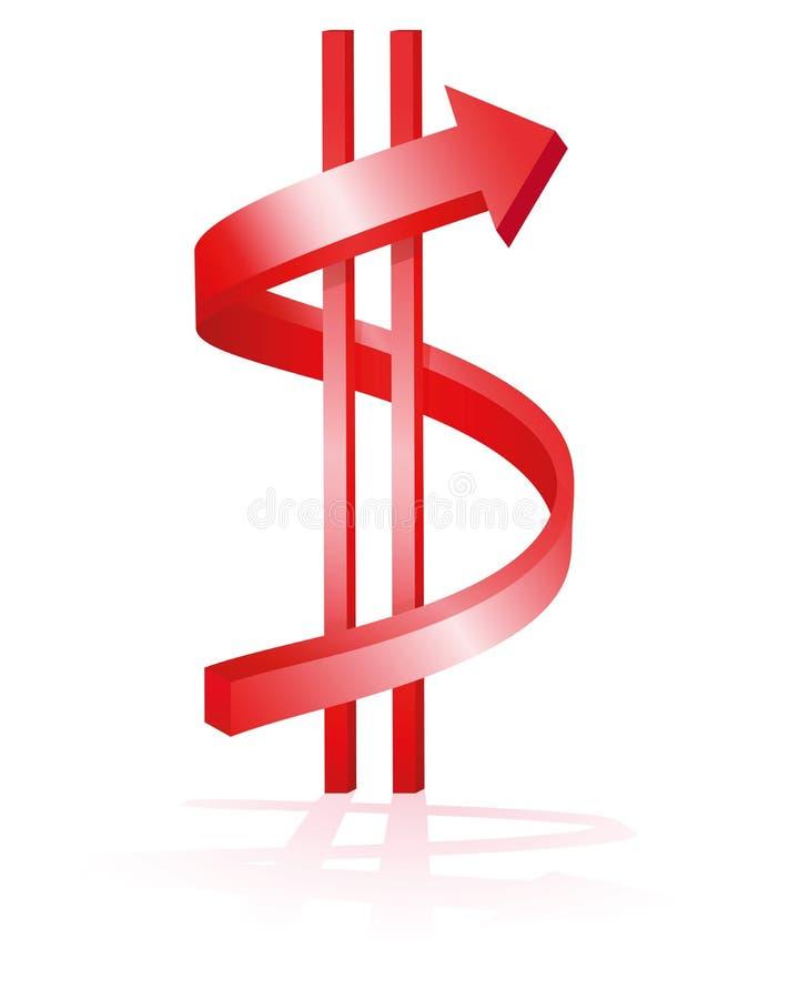 Dólar de levantamiento stock de ilustración