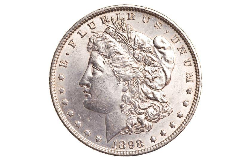 Dólar de plata antiguo aislado imagen de archivo libre de regalías