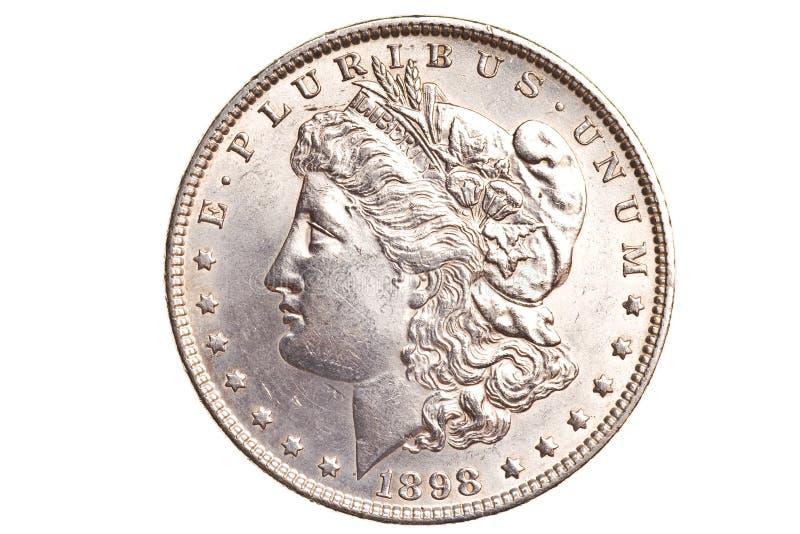 Dólar de plata antiguo aislado foto de archivo