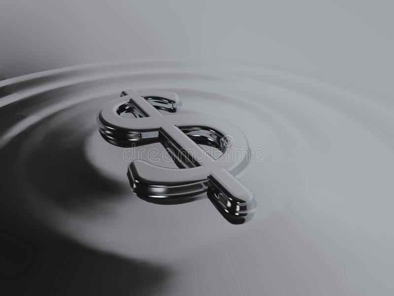 Dólar de prata líquido ilustração do vetor