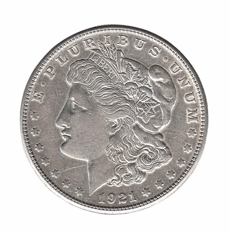 Dólar de prata de Morgan isolado no branco imagem de stock royalty free