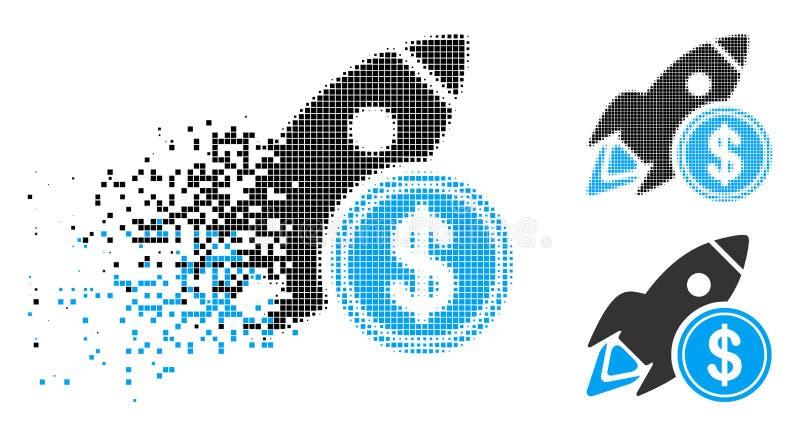 Dólar de semitono punteado destrozado Rocket Icon ilustración del vector