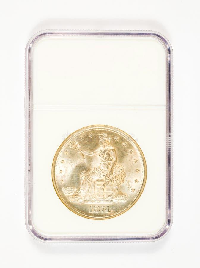 Dólar del comercio de plata en caso de clasificación foto de archivo