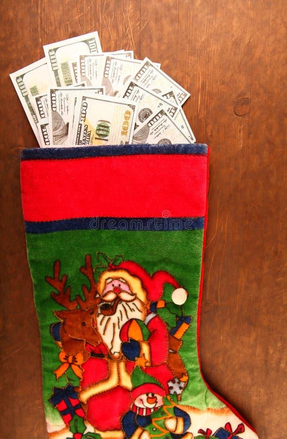 Dólar del dinero del calcetín del Año Nuevo imagenes de archivo