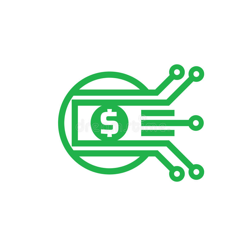 Dólar del dinero de Digitaces - vector el ejemplo de la plantilla del logotipo Moneda - muestra creativa Elemento del diseño stock de ilustración